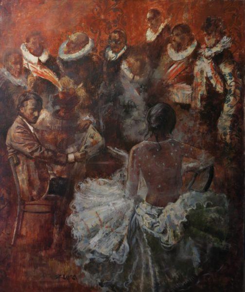 Portræt med Franz Halls maleri_small